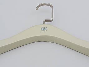 Довжина 38,5 див. Плічка тремпеля дерев'яні бежевого кольору з антиковзаючим флокированним покриттям на плечах, фото 3