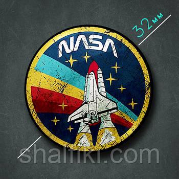 """NASA / НАСА"" значок круглый на булавке Ø32 мм"
