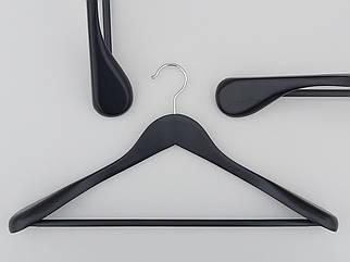 Плічка вішалки тремпеля дерев'яні широкі чорного кольору з антискользяшей поперечиною, довжина 45 см