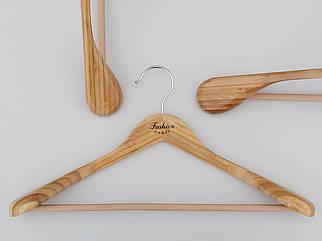 Довжина 45 см. Плічка вішалки тремпеля дерев'яні бамбукові широкі Fashion з антиковзною поперечиною