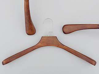 Довжина 45 см. Плічка вішалки тремпеля дерев'яні коричневого кольору широкі