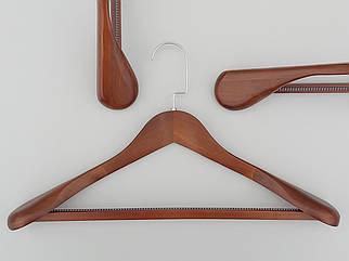 Довжина 45 см. Плічка вішалки тремпеля дерев'яні широкі коричневого кольору