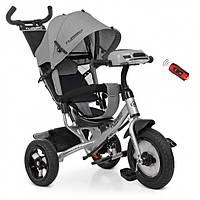 Детский велосипед трехколесный для мальчика TURВOТRIKЕ M3115HA19L цвет серый музыка фары сиденье 360 градусов
