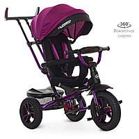 Детский велосипед коляска трехколесный для  девочки колясочная ручка поворот сиденья фиолетовый