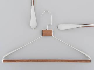 Плічка вішалки тремпеля метал з деревом білого кольору, довжина 42,5 см