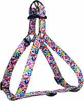 4978 Collar WauDog Nylon Волшебные цветы нейлоновая шлея, 40-55см/15мм
