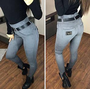 """Стильні вузькі замшеві штани жіночі великих розмірів """"Грейс"""" 56, сірий"""