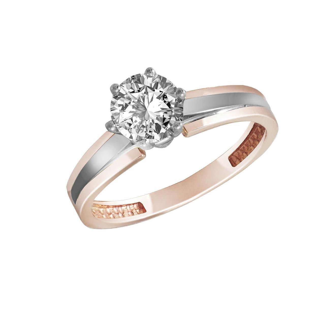 Кольцо из золота с бриллиантом, размер 15 (1748416)