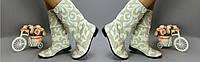 Женские зимние короткие льняные сапожки на меху . Арт-0229