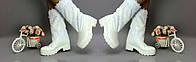 Женские зимние белые сапоги на меху , кожзам+кружево. Арт-0224