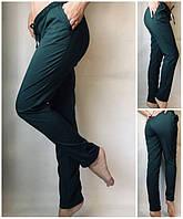 Брюки женские летние однотонные на резинке зеленные, летние женские брюки больших размеров со шнурком, фото 1