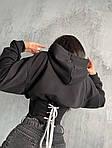Жіноче худі, турецька двунить + трикотаж рубчик, р-р 42-44; 44-46 (чорний), фото 2