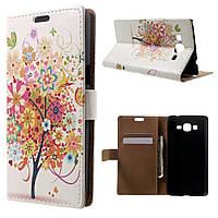 Чехол книжка для Samsung Galaxy Grand Prime SM-G530H боковой с отсеком для визиток, Цветущее дерево и бабочки