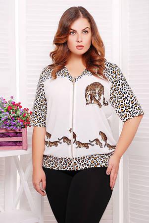 Блузон с леопардовым принтом цвет белый  ЛЕОНА