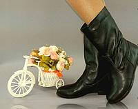 Женские зимние короткие кожаные сапоги с мехом. Арт-0221
