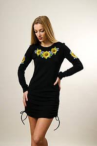 Красивая женская туника черного цвета с длинным рукавом «Подсолнухи»