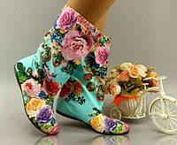 Женские яркие короткие сапоги. Арт-0223