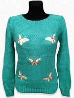 Отличная вязанная кофта женская в расцветках с рисунком бабочки