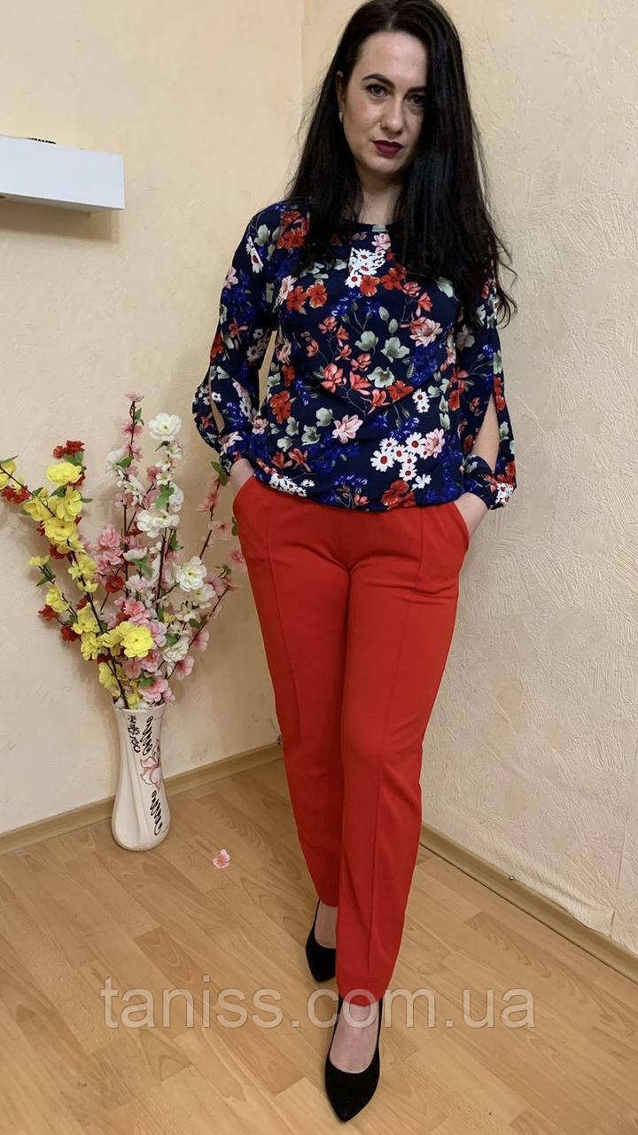 Женский стильный, брючный костюм,ткань креп дайвинг и шифон,  р.44-46,48-50,52-54,56-58,62-64