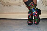 Женские зимние модные сапожки в стиле платок матрешка. Арт-0220