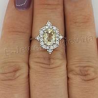 """Серебряное кольцо с натуральным цитрином """"Заря"""""""