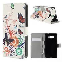 Чехол книжка для Samsung Galaxy Grand Prime SM-G530H боковой с отсеком для визиток, Butterfly Circle