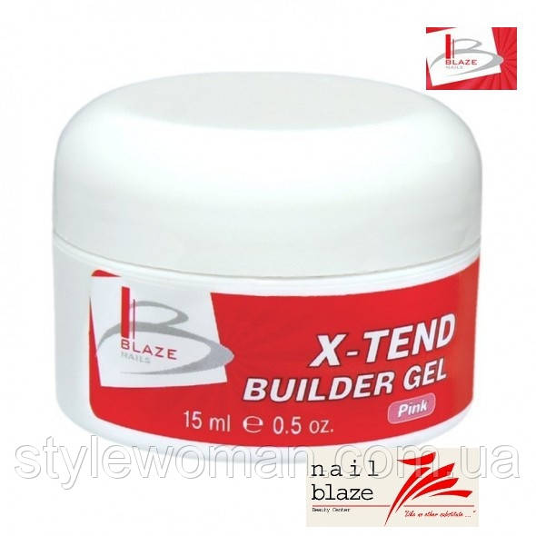 Гель Blaze X-Tend Builder Clear Pink Gel, 15 мл розовый