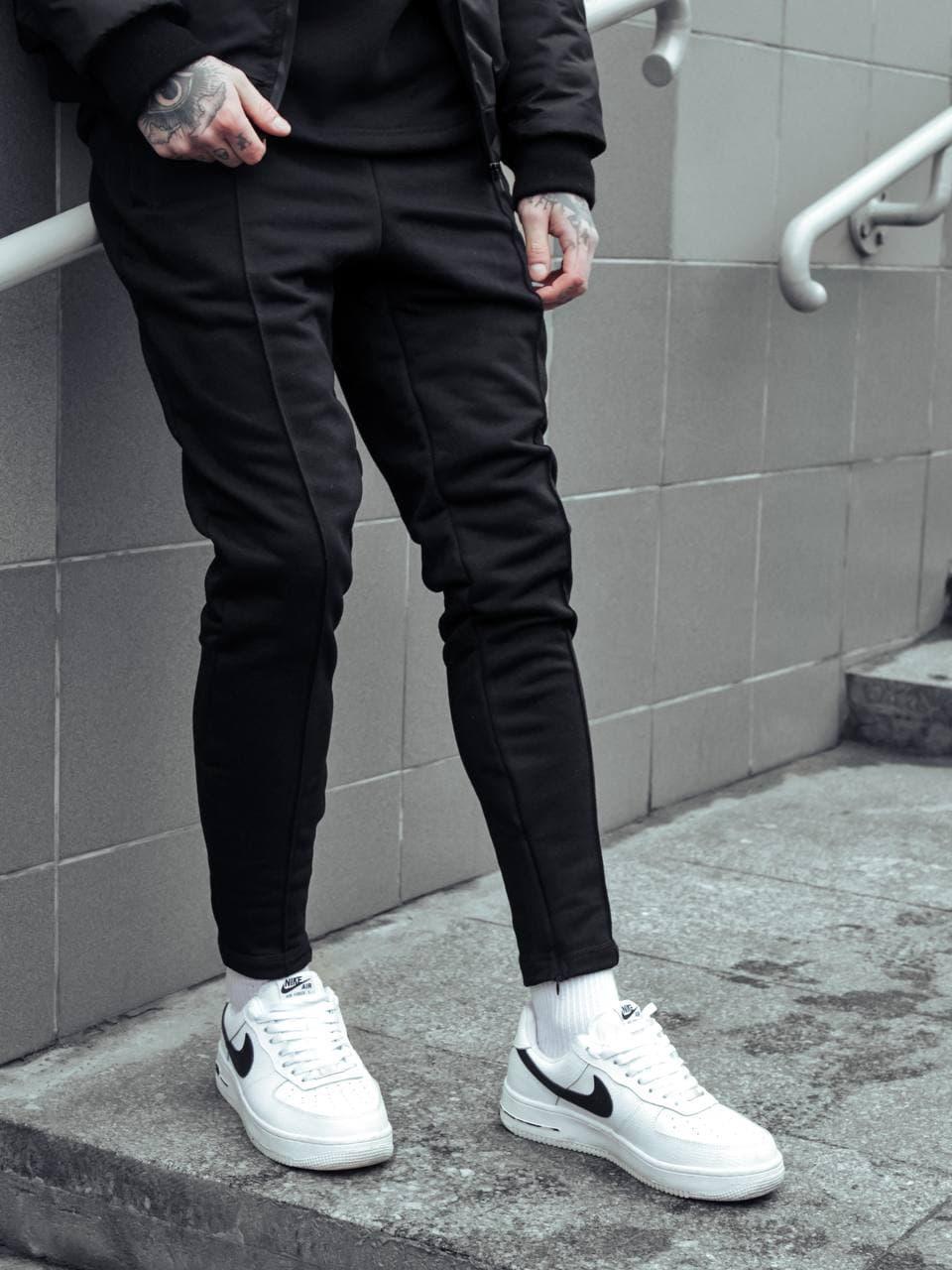 Теплі чоловічі спортивні штани чорні