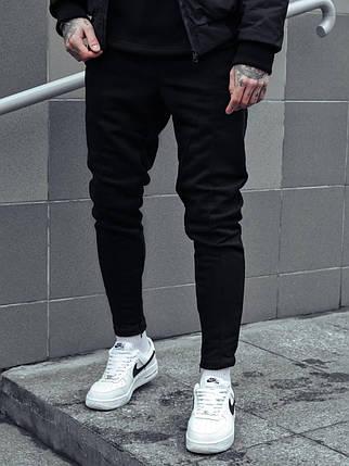 Теплі чоловічі спортивні штани чорні, фото 2