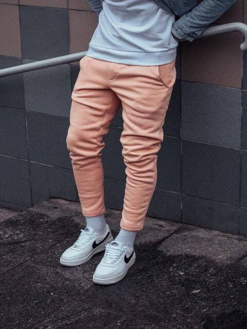 Теплые мужские спортивные штаны бежевого цвета
