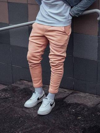 Теплые мужские спортивные штаны бежевого цвета, фото 2