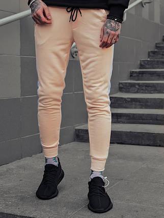 Мужские спортивные штаны бежевого цвета с лампасами, фото 2