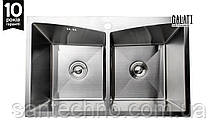 Мойка двойная кухонная прямоугольная под столешницу GALATI ARTA U-730D (1,2мм)