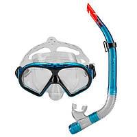 Взрослый набор для плавания маска и трубка голубой Dolvor М9510