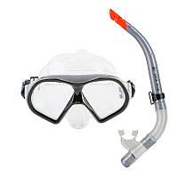 Взрослый набор для плавания маска и трубка Черный Dolvor М9510