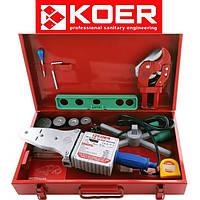 Паяльник для полипропиленовой трубы KOER SET-03 (1500ВТ, 4 насад, ножн,рулетка,2 заглуш, уровень)