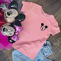 Футболка Жіноча бавовна рожева з принтом Mickey Mouse міккі маус