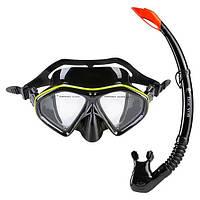 Набор для плавания маска и трубка черно-желтый Dolvor mod. 289PVC