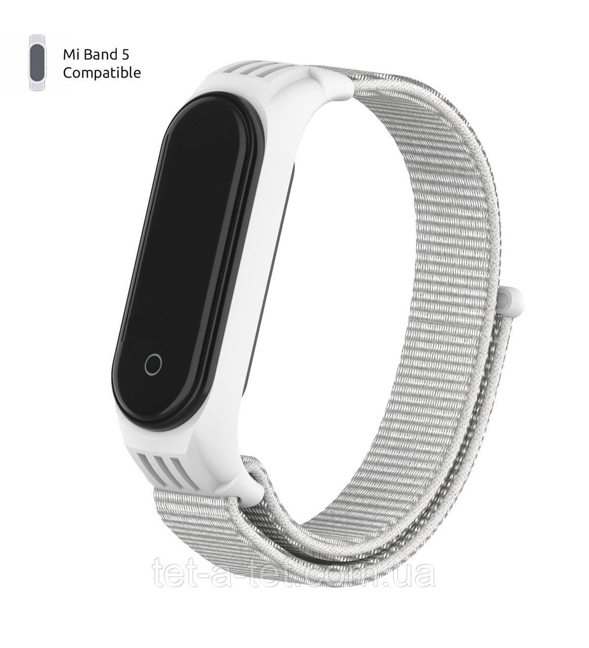 Нейлоновый ремешок для Xiaomi Mi Band 5/6  White (белый)