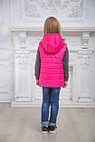 Детский утепленный жилет на девочку весенний осенний на силиконе стеганый демисезонный, 116-152, фото 5
