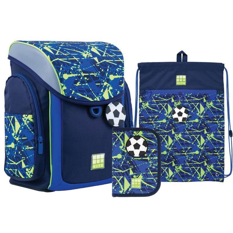 Шкільний набір ранець+пенал+сумка для взуття Wonder Kite Goal (WK21-583S-2) 970 р 34x28x17 см 10,5 л синій