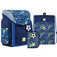 Шкільний набір ранець+пенал+сумка для взуття Wonder Kite Goal (WK21-583S-2) 970 р 34x28x17 см 10,5 л синій, фото 1