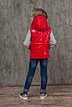 Лаковый жилет на девочку утепленный детский весенний осенний на силиконе стеганый демисезонный, 116-152, фото 2
