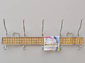 Длина 41,5 см. Вешалка настенная ЗНТ5  металл со вставкой золотого цвета на 5 крючков