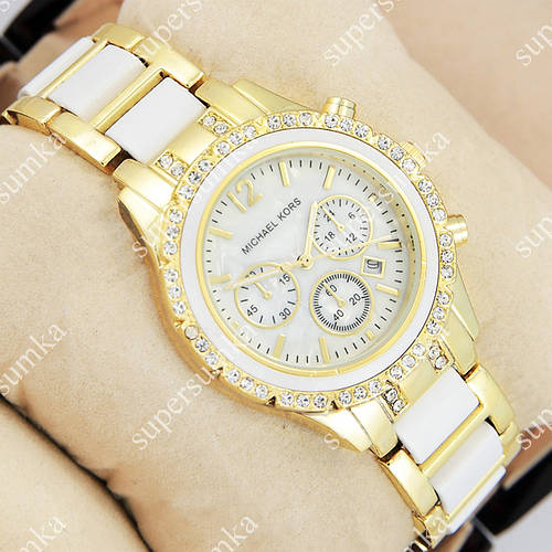 Молодежные наручные часы Michael Kors crystal Gold-white/White 1690