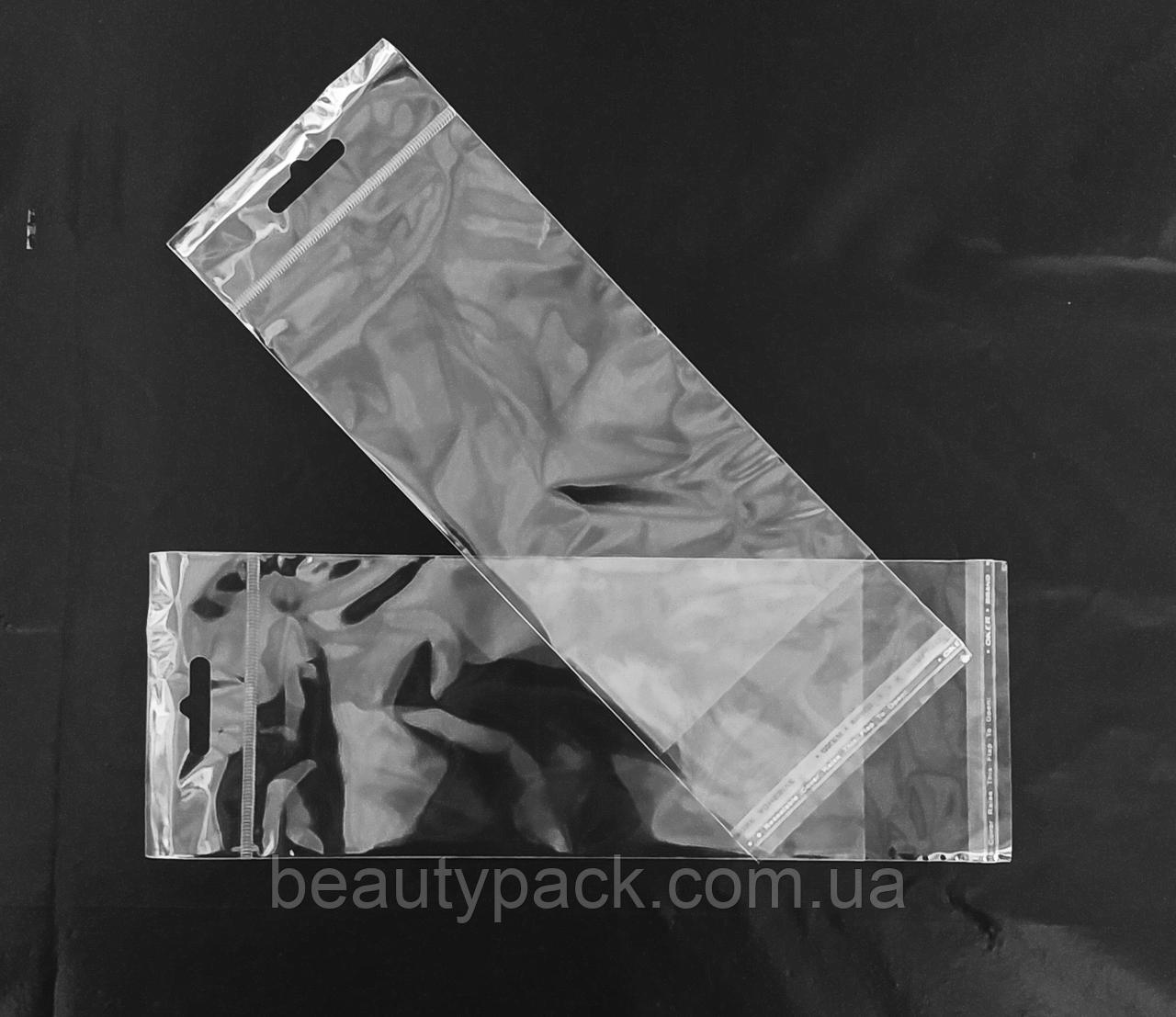 Полипропиленовые пакеты с клапаном и еврослотом 9 х30 см / уп-100шт 30МкМ