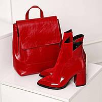 Модные ботинки, ботильйоны женские на байке классические красные кожаные с замшей на каблуке 8 см 36 37 38 39