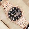 Практичные наручные часы Michael Kors crystal Pink gold/Black 1691