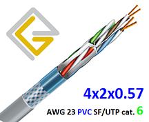 Кабель сетевой в экране SF/UTP-cat.6 AWG23 PVC 4х2х057 для внутренней прокладки