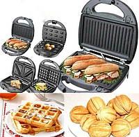 Сэндвичница 3 в 1 Grant GT 779 800W бутербродниця | вафельниця | гриль, фото 1